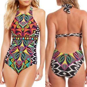 Trina Turk African High Neck One Piece Swimsuit